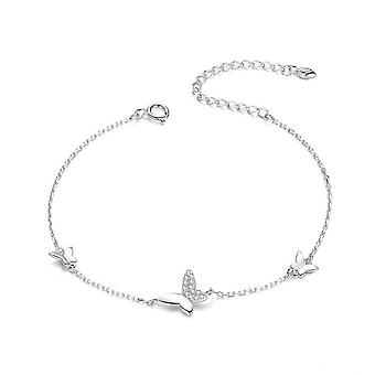 Silver plating Clasp Chain Bracelet for Women Flying Butterfly Popular Jewelry Gift