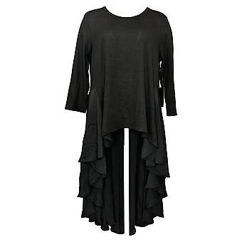 DG2 by Diane Gilman Women's Sweater Mixed Media Drama Top Black 678624