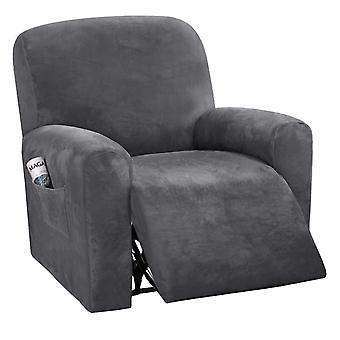 Sammetslutande slipcovers spandex plysch furnitue lock deluxe lounge cover, high stretch möbler skydd för vilstol, grå