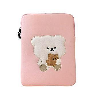 Schattige beer tablet geval cartoon mouw geval laptop tas beschermende hoes meisjes opbergtas (11 inch)