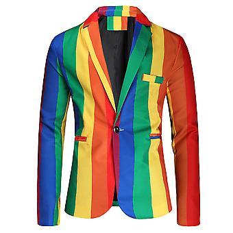 YANGFAN Mens Stripe Colorated Suit Jacket