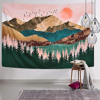 """Mountain Tapestry Forest Treesunset Natural Landscape Tapestry 59.1"""" X 59.1"""""""
