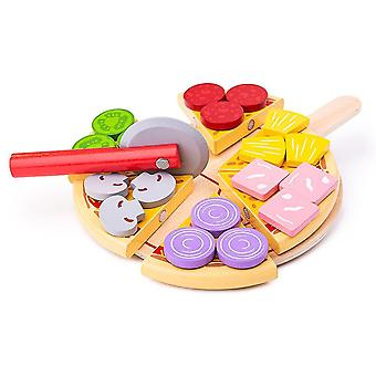 Toy kitchens play food wooden cutting pizza with wooden toppings and pizza slicer - play food and role play for kids