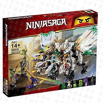 Compatible With 80019 Phantom Ninja Series Dragon Combined Four-headed Dragon Assembled Building Block Toy 70679
