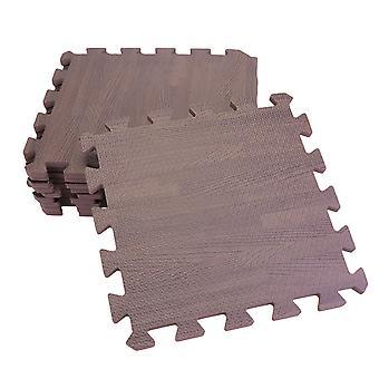 12pcs Holz Korn Interlocking Boden Matten Platz rutschfest Wohnzimmer Schlafzimmer Matten