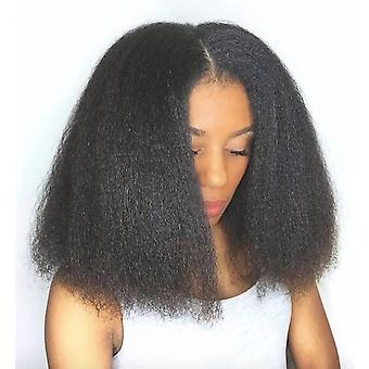 European And American Ladies Mid-point Short Straight Hair Yaki Chemical Fiber Wig