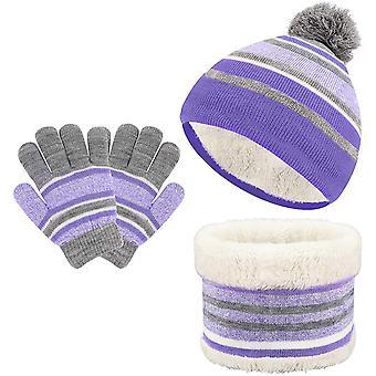 3-in-1 Warmer Hut Schal Kinder Lila Handschuh Anzug Winter Dick Warme Fleece Strickmütze Schal Und Handschuh Tasche Für Jungen Und Mädchen