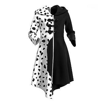 Fekete-fehér boszorkány Kuila Cruella De Vil Kids Halloween Cosplay jelmez