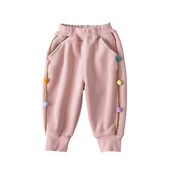 Girls' Polar Fleece Plus Velvet Padded Pants Children's Warm Trousers