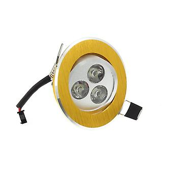 I LumoS High Quality Epistar 3 Watts Gold Circle Aluminium Warm White LED Tiltable Recessed Spot Down light