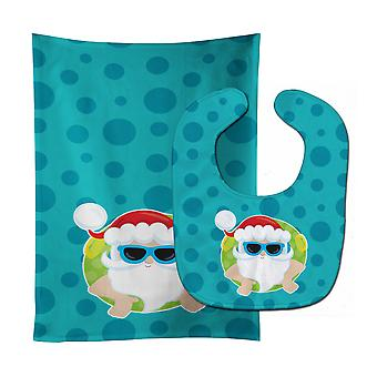 Carolines Treasures  BB9068STBU Beach Santa Claus #1 Baby Bib & Burp Cloth
