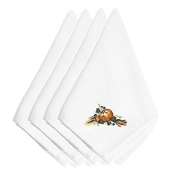 Thanksgiving Harvest Bounty Embroidered Napkins Set of 4