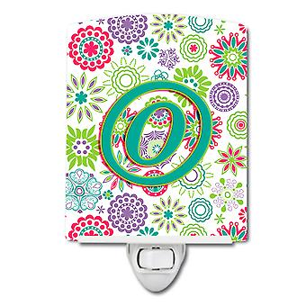 Letter O Flowers Pink Teal Green Initial Ceramic Night Light