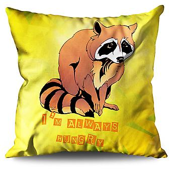 Hungry Racoon Cute Linen Cushion 30cm x 30cm | Wellcoda