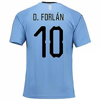 Thuis voetbalshirt van 2018-2019 Uruguay (D. Forlan 10)