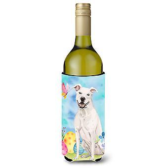 Staffie branco Bull Terrier Páscoa garrafa de vinho Beverge isolador Hugger