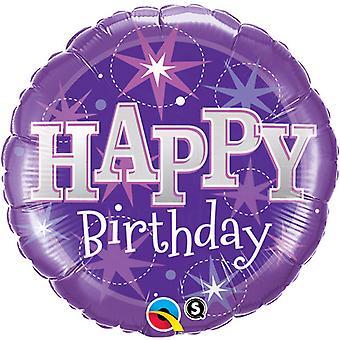 QUALATEX 18 pouces rond violet Happy Birthday Sparkle feuille ballon