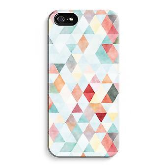 iPhone 5 / 5S / SE fuld Print sag (blank) - farvede trekanter pastel