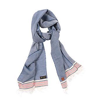 Sciarpa – blu & bianco in misto cotone gessato