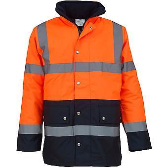 Yoko Mens Hi Vis Two Tone Waterproof Hooded Motorway Safety Jacket