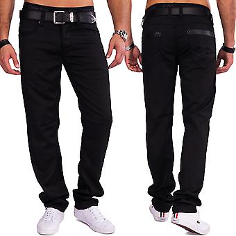 Men Coated Denim Trousers gloss black slim fit shiny Jeans Style Casual