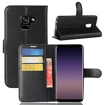 Prime de portefeuille poche noire pour Samsung Galaxy A8 2018 A530F protection manches étui nouveau