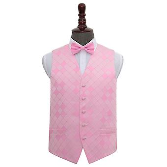 Diamante rosa luce matrimonio gilet & Bow Tie Set