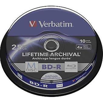 Verbatim 43825 lege M-disc Blu-Ray DVD 25 GB 10 PC (s) spindel afdrukbare