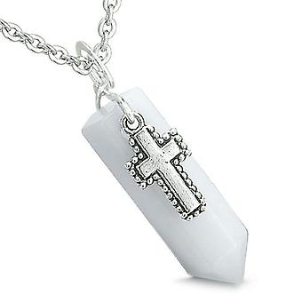Amulet Crystal punt Heilige Kruis Charm witte Jade Gemstone spirituele positieve Pendant Necklace
