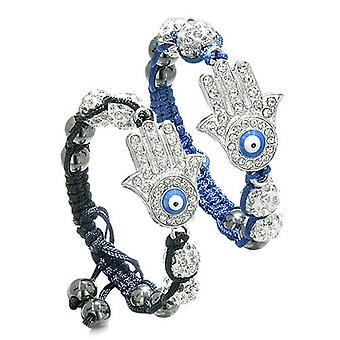 Magische Evil Eye Protection Liebe Paare Beste Freunde Hamsa Hand Amulette Royal blau schwarze Armbänder