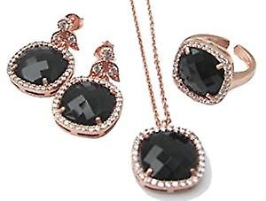 Gold plated silver jewellery set, earrings, necklace and adjustable ring with black onyx