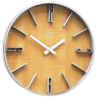 Atlanta 4426/30 vegg klokke kvarts analoge sølv tre or farger runde