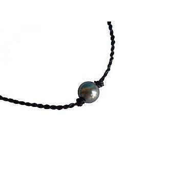 Perle 12 mm halskjede MERCY-BLU skinn kjede kjede Tahiti grå