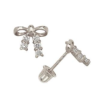Measures 5x5mm 14k White Gold Small Half Ball Sparkle-Cut Screw-Back Earrings