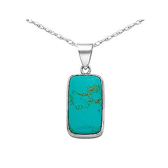Turquoise Rectangle Pendant Necklace in Sterling Silver with Chain