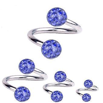 Kierre kierre lävistyksiä titaani 1,6 mm, Multi Crystal Ball safiiri sininen | 8-12mm
