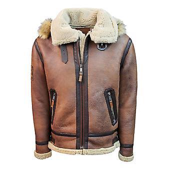 Top Gun Shearling Jacket Brown Premium Wool Blend