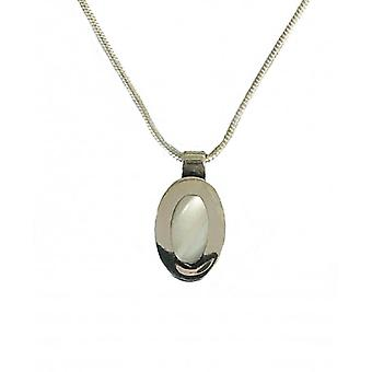 """Cavendish French Oval silver mother of pearl pendant with 16-18"""" silver chain"""