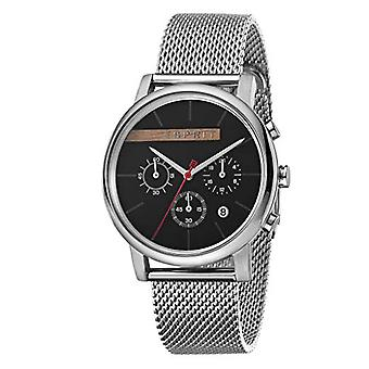 ESPRIT Mens Watch Watches Quartz Analogue Vision Black Silver Mesh