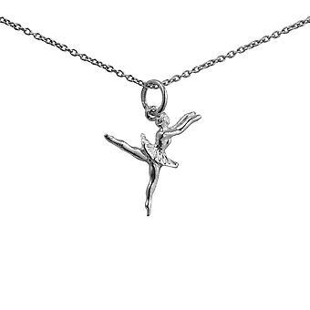Sølv 20x15mm ballett danser anheng med en 1mm bredt rolo kjeden 24 tommer
