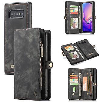 Mobiele telefoon geval voor Samsung Galaxy S10 plus G975F CaseMe dekking tas + gevaldekking van kunst leer zwart