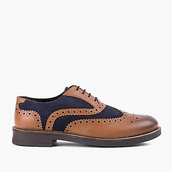 Mens tan navy leather suede brogue shoe