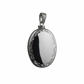 Silver 35x26mm handmade hand engraved scroll edge plain centre oval Memorial Locket