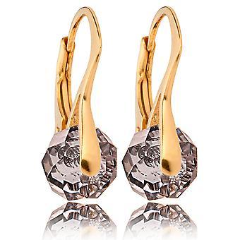 Женский потрясающий золото за стерлингового серебра Briolette круглые серьги