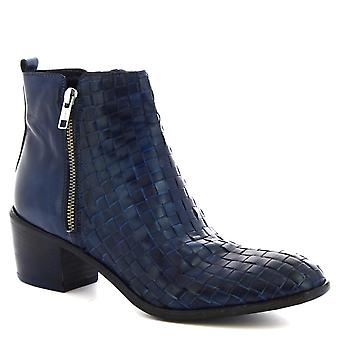 Leonardo Shoes Women's handmade heels ankle boots in blue woven calf leather