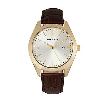 Breed Louis Leather-Band Watch w/Date - Gold/Silver