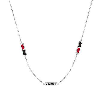 Cincinnati Reds Sterling Silver Engraved Triple Station Necklace In Red & Black