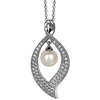 PENDANT WITH CHAIN LEAVE 925 SILVER SWEETWATER PEARL ZIRCONIUM