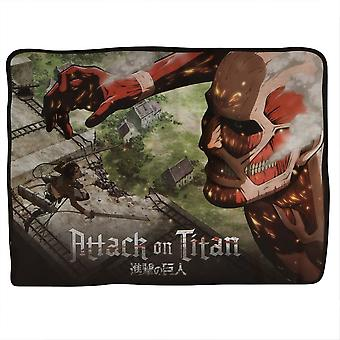 Blanket Attack On Titan Eren Vs. Colossal Titan Fleece New cfb-aot-bigred