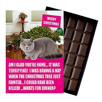 Gris británico corto pelo gato regalos de Navidad regalos de Navidad regalos para los amantes del gato chocolate tarjeta de felicitación
